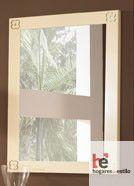espejo de forja minimalista, cuadrado y blanco con detalles en las esquinas de los marcos
