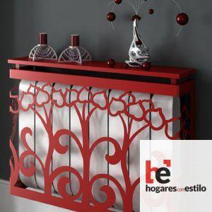 cubre radiador de forja de color rojo con decoración de flores de bulbo cerrado