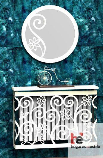 cubre radiador de forja sencillo y blanco decorado con flores pequeñas y espirales
