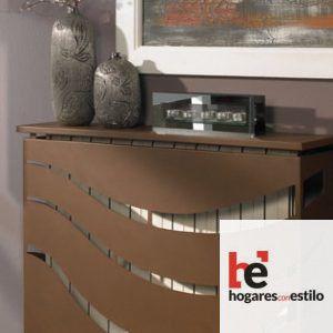 cubre radiador de forja con decoración de abertura de tres líneas curvas