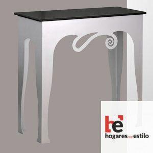 mesa de entrada de color blanco con la parte de arriba en color negro y una decoración en forma de espiral u ola