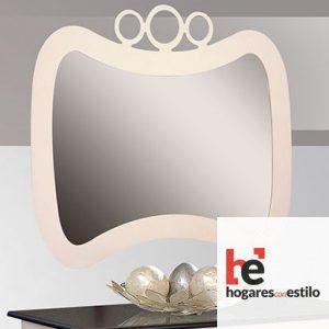 espejo de pared de forja en formato apaisado o vertical. Tiene tres circulos concéntricos como decoración en la parte superior