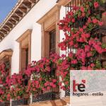 imagen de unos balcones con rejas de forja y flores